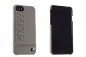 Кейс Чехол для iPhone 7 BMW Signature Logo imprint Hard Leather Taupe BMHCP7LLST